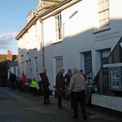Rotary Club 'Spot the Artist' 2017 sale; Back Road West queue.
