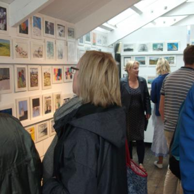 Rotary Club 'Spot the Artist' 2017 sale; viewing in the St Ives School of Painting.