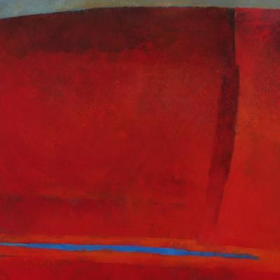 DE LANK III - ARAGONITE WITH CADMIUM RED FLOATING